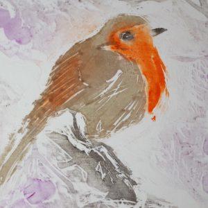 "Gerald Mulka, ""English Robin"", wood block print, 12x12, $75"