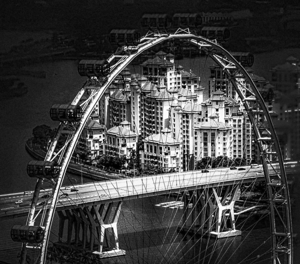 Ferris Wheel, ingapore, Photography, 21 x 17, matted and framed, $400