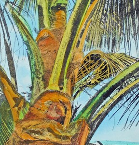 "Laura Whitesides Host, ""Captain Cook Palm"", Hand-painted Solar Plate Etching, 18 x 16, $160"