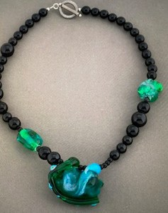 Alice Frank, Hand blown glass beads with black glass beads, $70