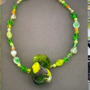 Alice Frank, Hand blown glass necklace with accompanied beads,$60