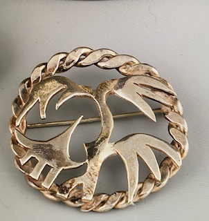 """Alice Frank, Sterling silver hand carved pin 2 1/2 """" $100"""