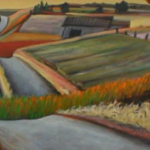 "Gary Van Gorp, ""Country Curve"", Acrylic, 48x 24, $800"