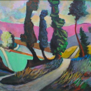 "Gary Van Gorp, ""Pink Mountain Valley"", Acrylic, 30 x 40, $400"
