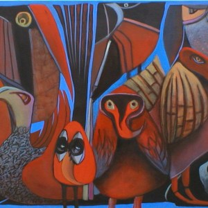 "Gary Van Gorp, ""Red Faced Birdz"", Acrylic, 24 x 36, $800"