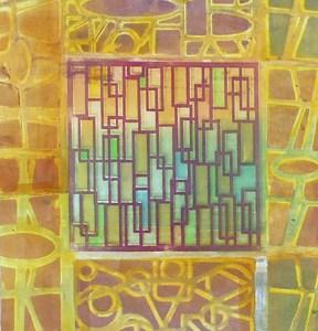 "Laura Whitesides Host, ""Garden Wall 4 pm"", Monotype, 18 x 20, $180"