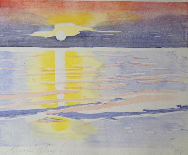 Gerald Mulka, Rogers City Sunrise, woodblock, 14x12, $75