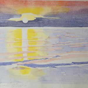 Gerald Mulka, Rogers City Sunrise, woodblock, 14x12, $75