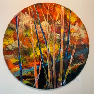 "Cindy Parsons, ""Autumn Winds, acrylic, 36"" round canvas, $450"