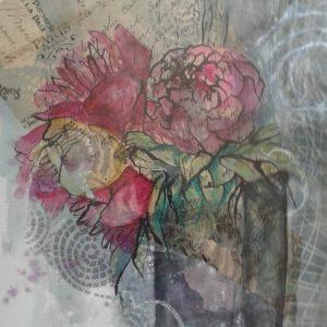 "Diane Krempa, ""Flower Express"", 18 x 24, $325, watercolor & collage"