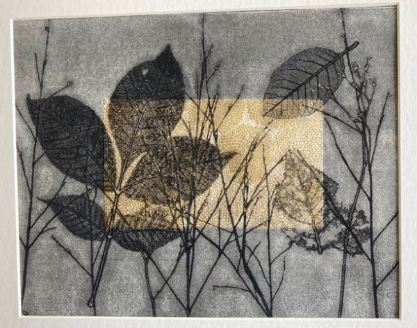 """Sherry Adams Foster, """"The Field"""", monotype and chine colle, 18 1/2 x 20 1/2, $170"""