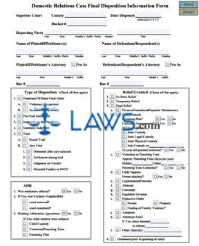 Domestic Relations Case Final Disposition Information Form