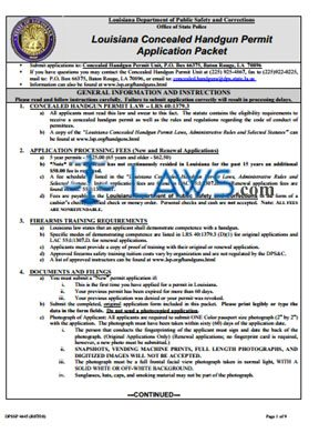 Form Concealed Handgun Permit Application Packet  Louisiana Forms   Lawscom