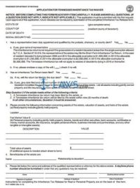 Form Application for Inheritance Tax Waiver - Tennessee ...