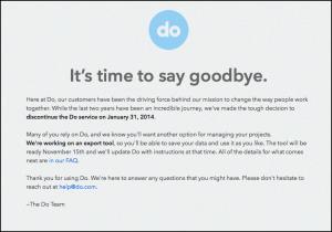 Do.com's closing announcement