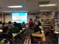 Presenting their Campaign to other students