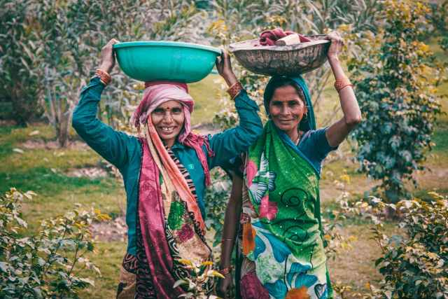 Indian women in green clothing with baskets