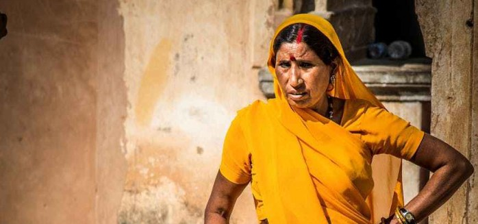 Indian woman in orange