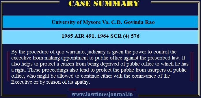University of Mysore Vs. C.D. Govinda Rao