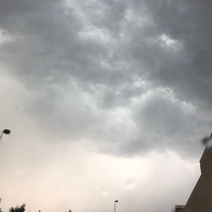 Dark storm clouds over some random shopping center in Northern VA.