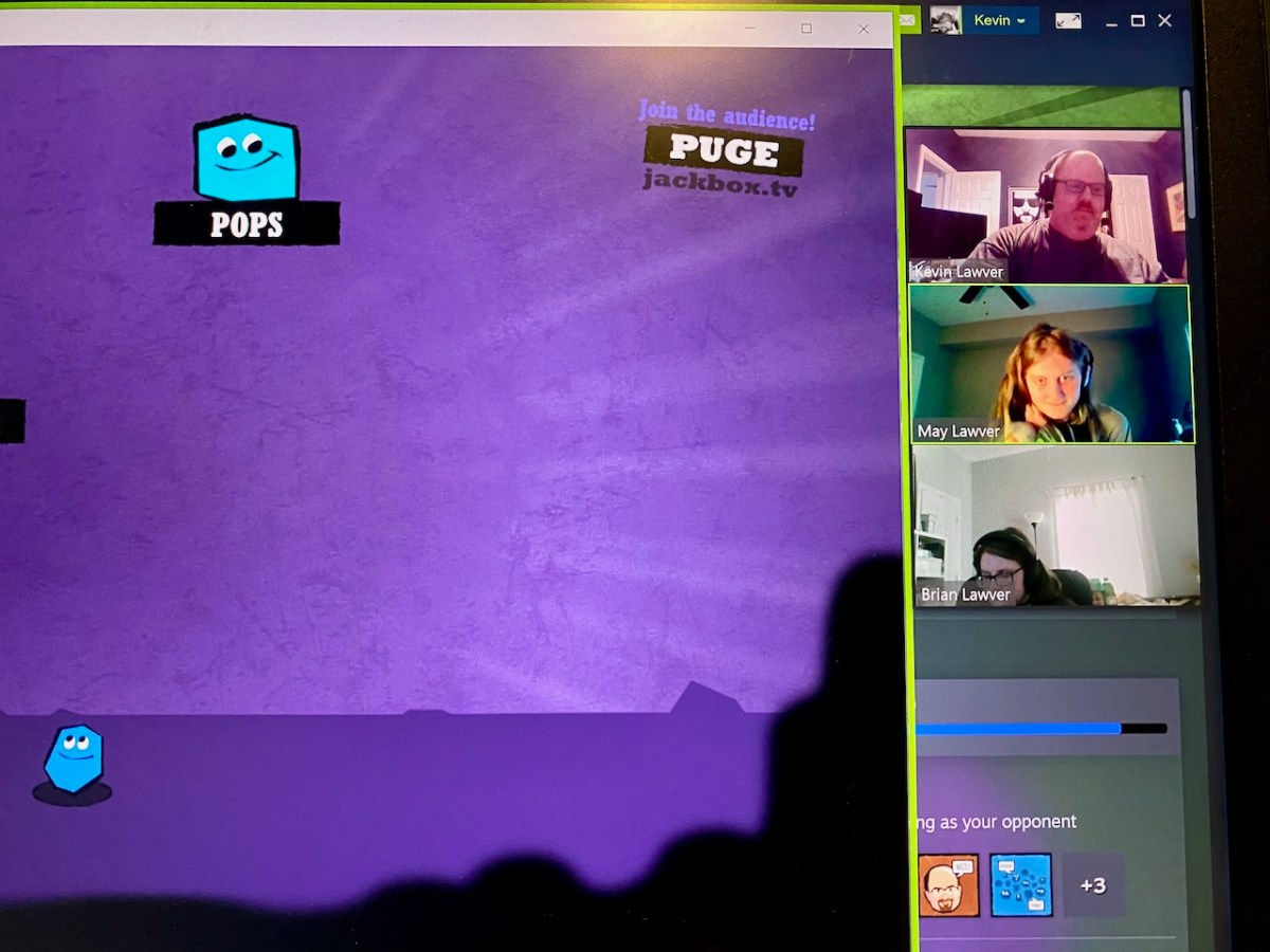 A screenshot of us playing Quiplash over Zoom