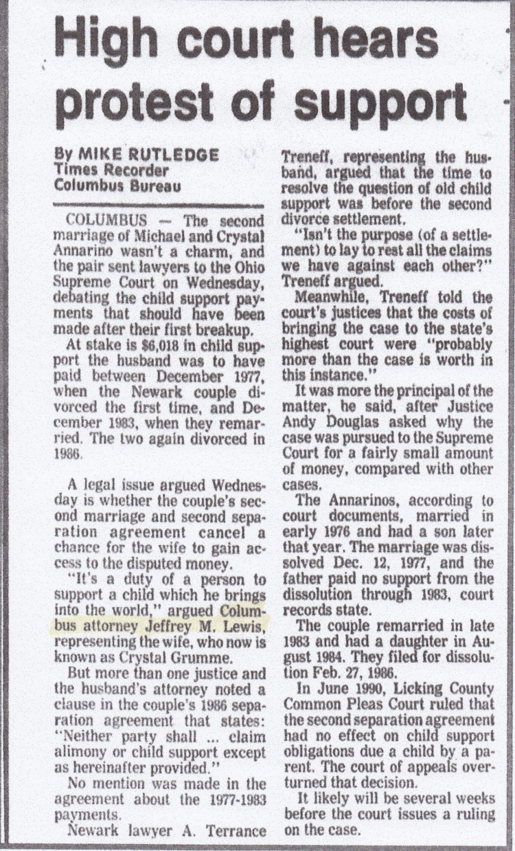 Newspaper Article Discussing Case: Times Recorder: High Court hears protest of support. By Mike Rutledge.