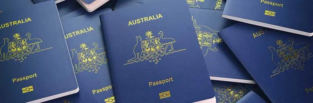Austrailian passports denoting Austrailian citizenship are shown to emphasize the citizenship requirement.
