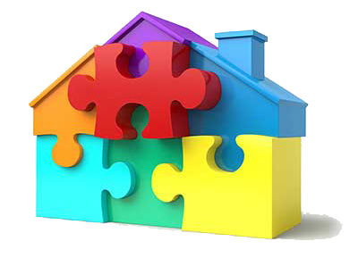 A puzzle in the shape of a house, showing how people have a hard time understanding what a mortgage is.
