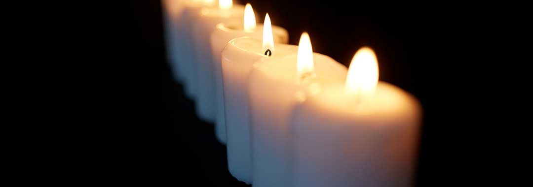Candles to symbolize the passing of life.
