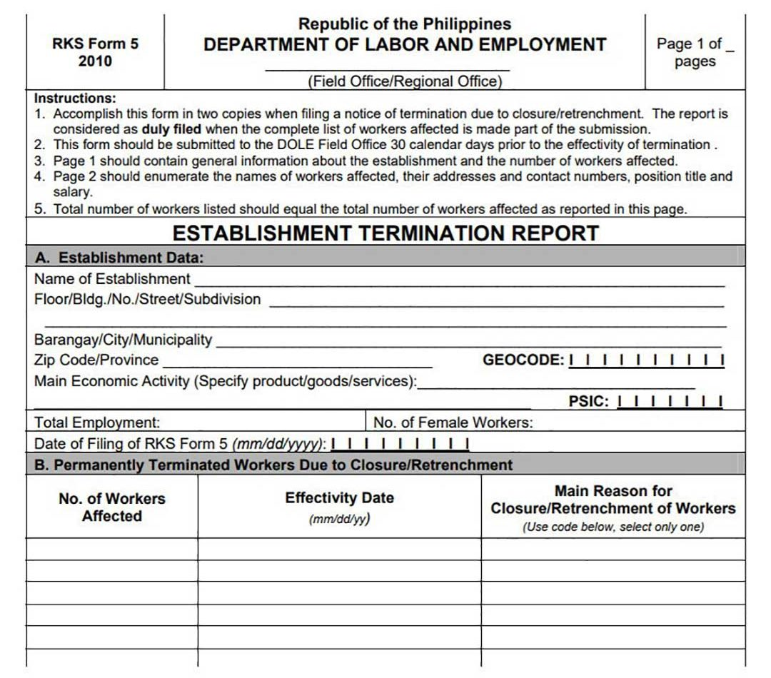 Department of Labor and Employment Closure Form