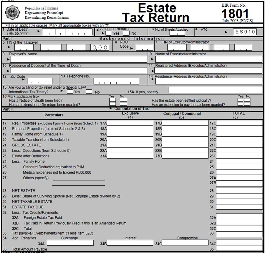 Estate Tax Return 1801
