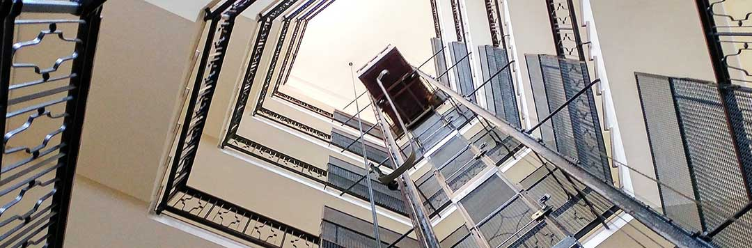 A picture of a condominium unit's common stairwell as this is the only property foreigners can buy.