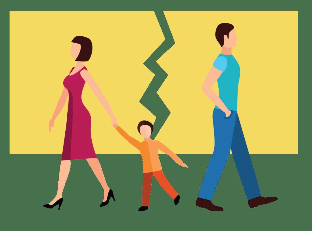A child split between two parents.