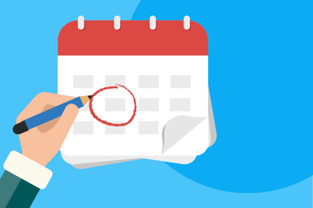 An encircled date on a calendar to show that pre-trial also goes through some issues.