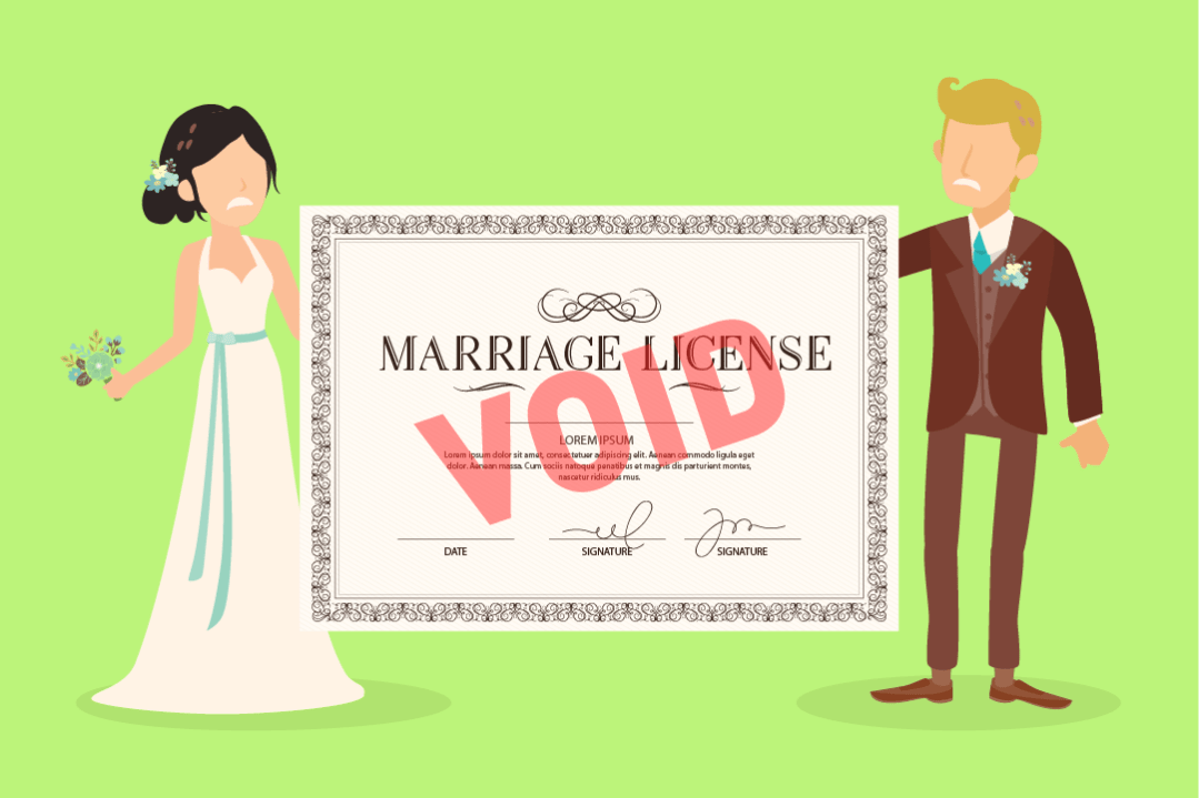 An angry wedding couple with a void marriage certificate.