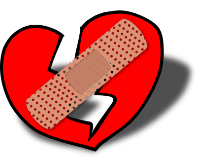 A broken heart with a bandage on it