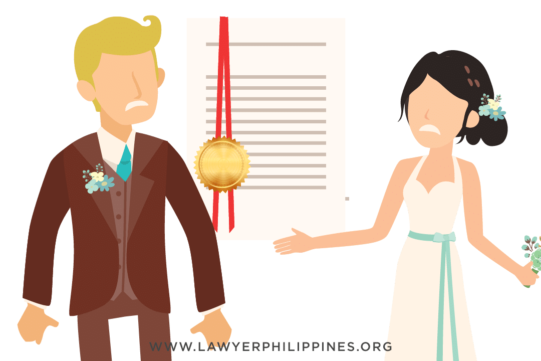 A man and a woman with a red-ribboned document between them.
