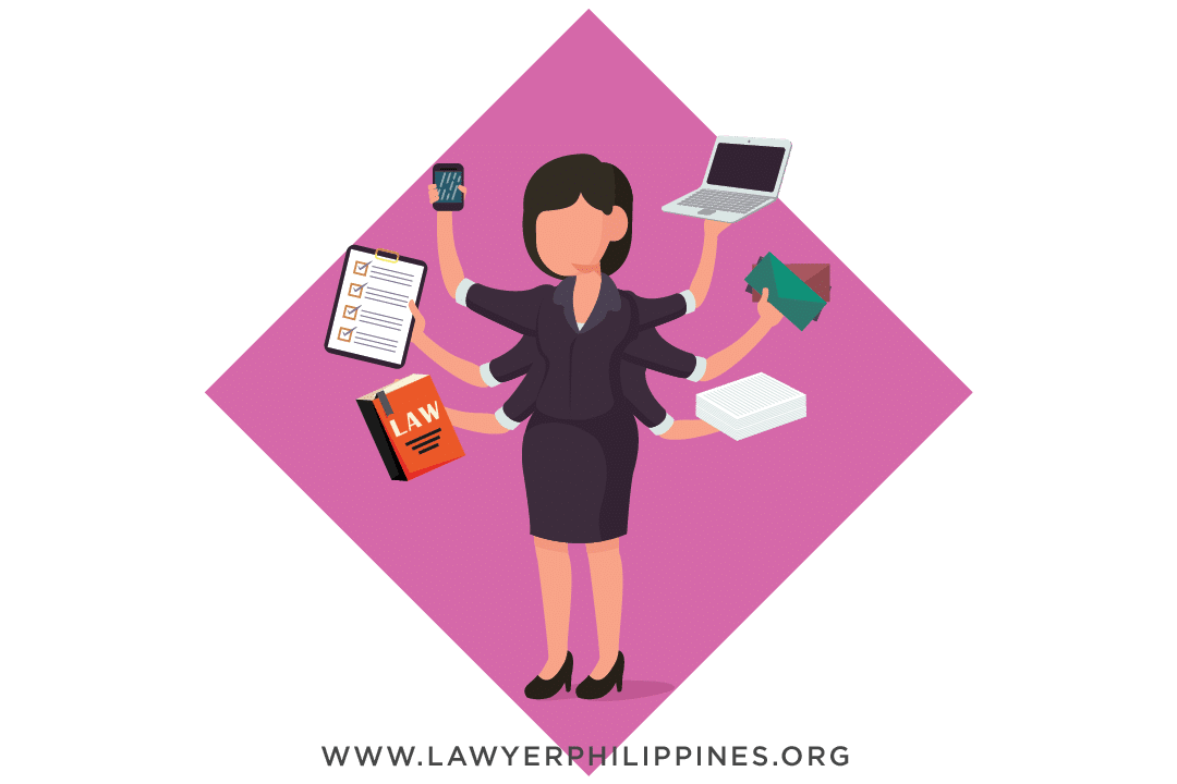 A woman holding a laptop, a calculator, law book, and other things an HR Officer must possess to be an effective one