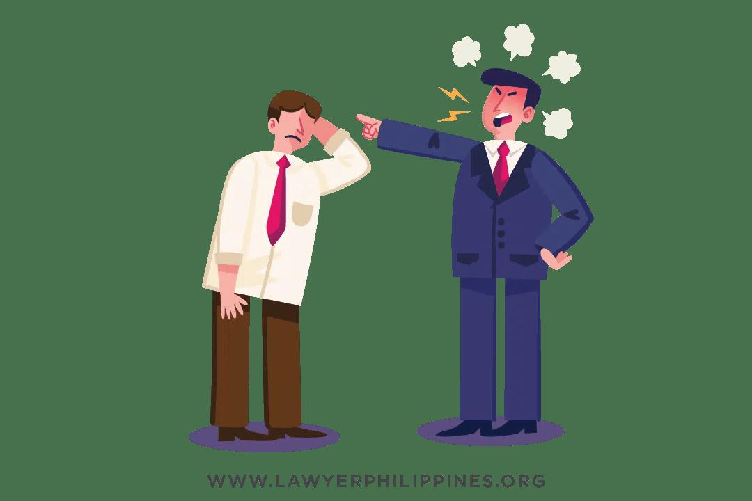 An employer scolding an employee
