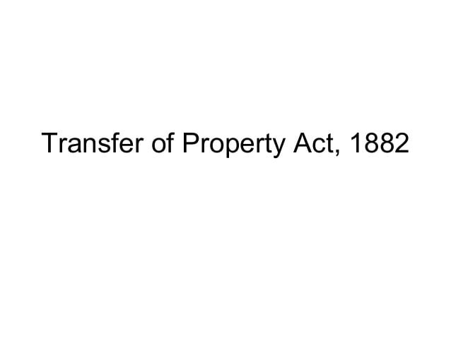 Transfer Of Property Act 1882 In Hindi Pdf