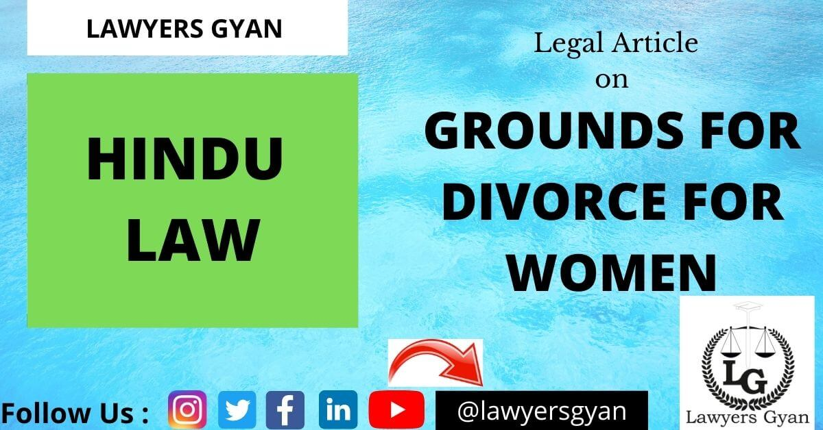 Grounds for divorce for women under Hindu law