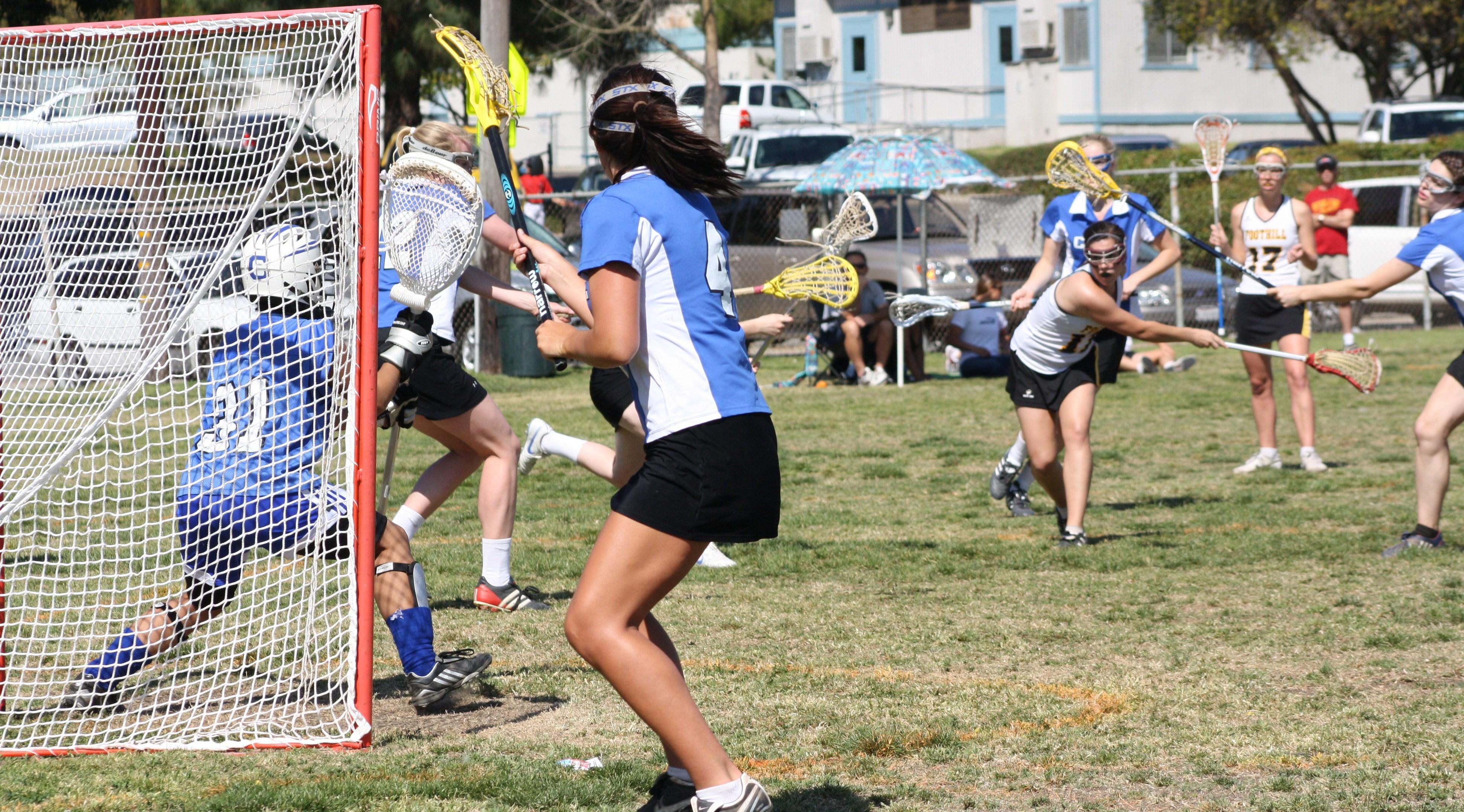 Foothill Varsity Girls Lacrosse kept shooting on Cate Schools goalie...