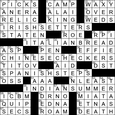LA Times Crossword Answers 31 Aug 2017, Thursday