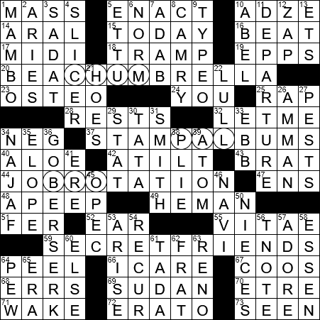 LA Times Crossword Answers 27 Nov 2017, Monday