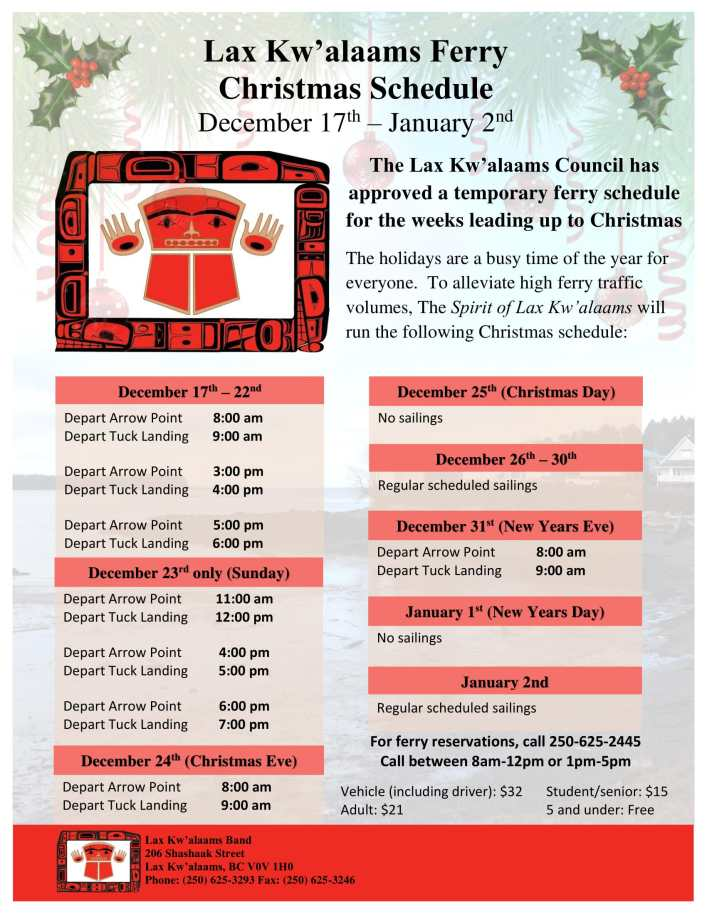 Lax Kw'alaams Ferry Christmas Schedule – December 17th