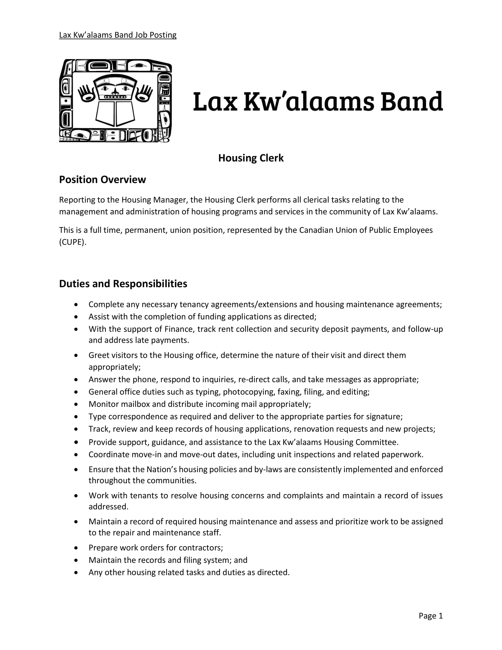 Housing Clerk – Job Posting – Lax Kw\'alaams Band