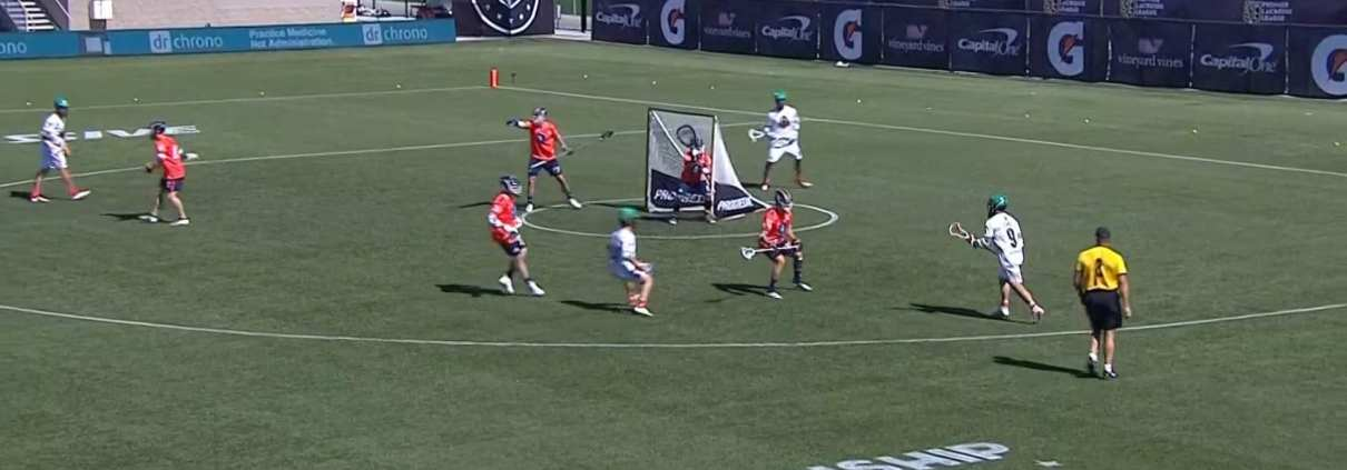 pro lacrosse pass down pick down transition offense play