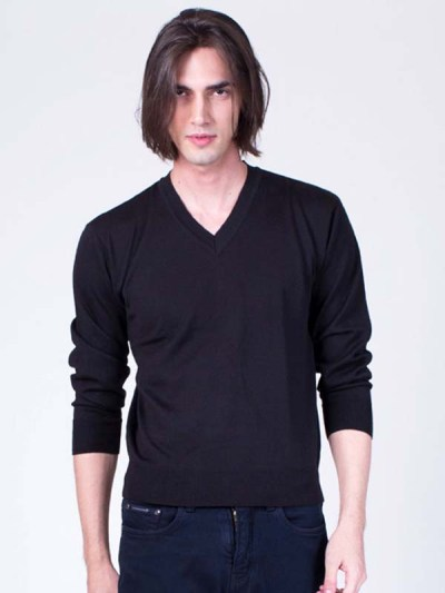 Basic V-Neck Sweater Black