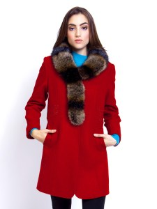 Ladies Overcoat Fur Collar Red