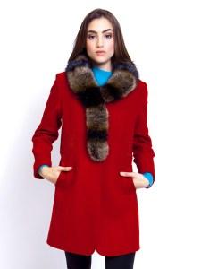 Ladies Overcoat Fur Collar Red